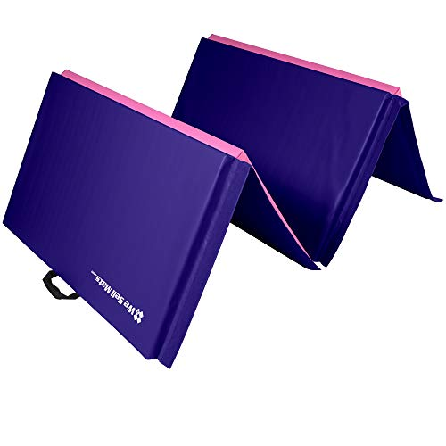 We Sell Mats Lightweight Folding 2 Inch Thick Fitness & Exercise Mat, 4' x 10', Purple/Pink