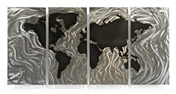 Amazon world map wall art contemporary metal sculpture by ash world map wall art contemporary metal sculpture by ash carl gumiabroncs Gallery