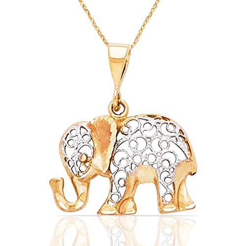 Jewel Connection Elegant 14K Gold Two Tone Elephant Pendant Necklace for Women and Girls - Elephant Tone Two