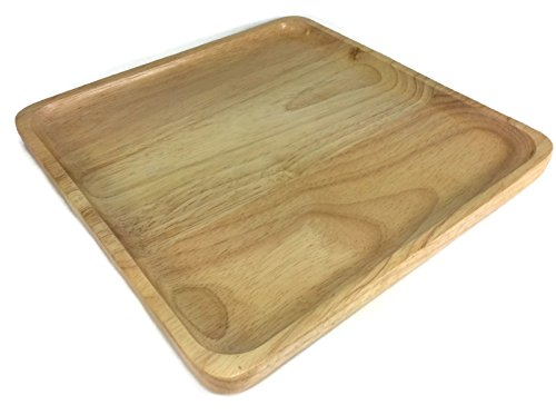 Food Tray Wooden Square Utensil Natural Rubber Handcraft Serving 10 x 10 Inch