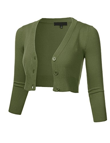 Women's Solid Button Down 3/4 Sleeve Cropped Bolero Cardigan Sweater SAGE L - Neck Cropped Cardigan
