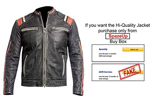 Spazeup Retro Black Motorcycle Cafe Racer Leather Biker Jacket D. Retro 3 Real Leather Large (Best Motorcycle Riding Jackets In India)