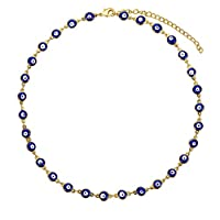 Long tiantian Gold Evil Eye Pendant Necklace for Teen Girls-Delicate Cute Choker Necklace with Colorful Bead for Women