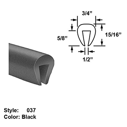 EPDM Rubber U-Channel Push-On Trim, Style 037 - Ht. 15/16'' x Wd. 3/4'' - Black - 25 ft long by Gordon Glass Co.