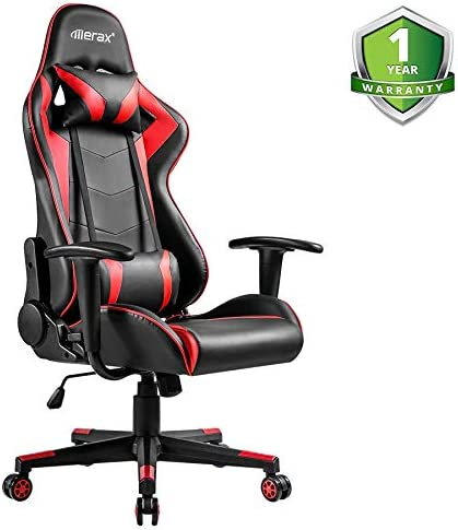 Merax PC Gaming Chair Racing for Adults Teens Kids Computer Office Chair Ergonomic High Back Reclining Executive Chair Comfortable for Gamers Office Users Black Red 250lbs