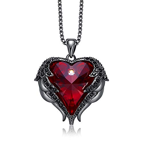 NEWNOVE Heart of Ocean Pendant Necklaces for Women Made with Swarovski Crystals (D_Black and Red) -