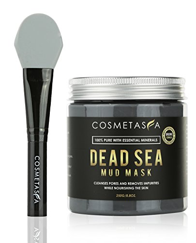 Dead Sea Mud Mask with Brush, 8.8 oz. Acne, Blackhead Remover and Pore Refining Mask for Cleansing & Purifying :: 100% Natural, Paraben & Sulfate Free by Cosmetasa