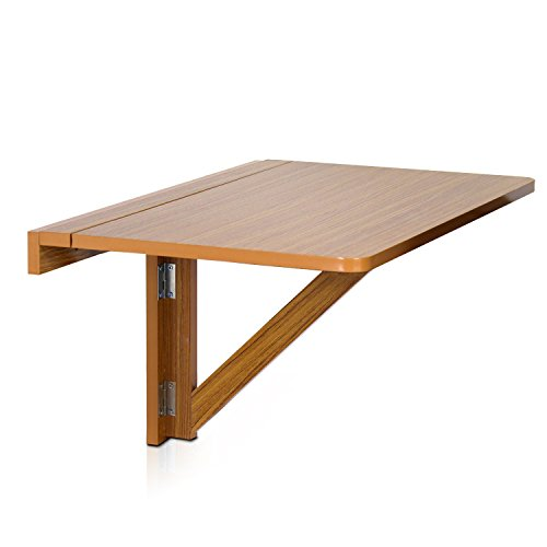 Furinno FNAJ-11019EX Wall-Mounted Drop-Leaf Folding Table, Cherry (Drop Side Leaf)