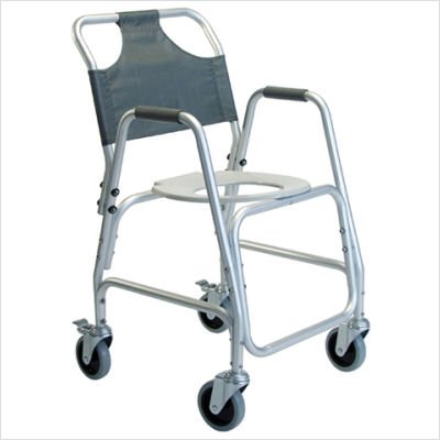 Transport Shower Chair Deluxe - Lumex Deluxe Aluminum Shower Transport Chair with Footrests, 5-Inch Swivel Casters, Silver 7915A-1