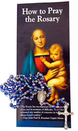 How to Pray the Rosary Pamplet Gift Set wtih Faced Acrylic Bead Rosary