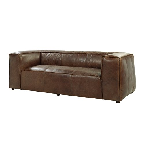 ACME Brancaster Retro Brown Top Grain Leather Sofa
