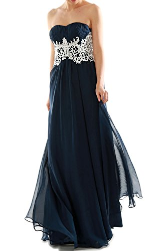 MACloth Women V Neck Lace Chiffon Long Prom Dresses Formal Party Evening Gown (46, Azul Marino Oscuro)