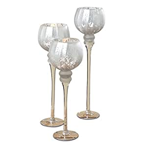 the spectacular cape cod long stem candle holders set of 3 white silver glass. Black Bedroom Furniture Sets. Home Design Ideas