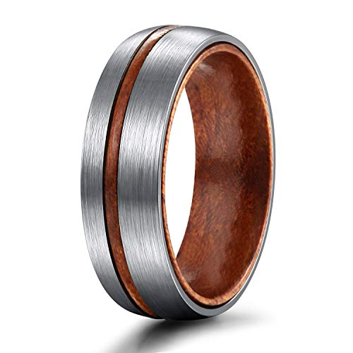 - TIGRADE 6mm/8mm Titanium Wedding Band with Nature Wood Comfort Fit Dome Matte Finish Grooved Promise Ring for Men Women Size 6-12