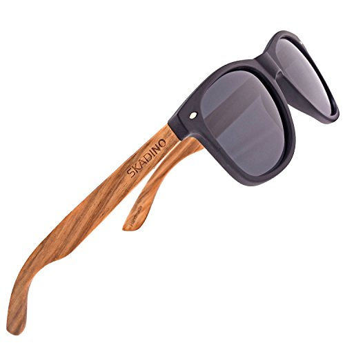 SKADINO Zebra Wood Sunglasses for Women&Men with Polarized Lens Handmade Wooden Arms-Black Frame Grey Lens (Bronze Zebra Sunglasses)