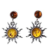 """Sterling Silver and Baltic Honey Amber Earrings""""Sun"""""""