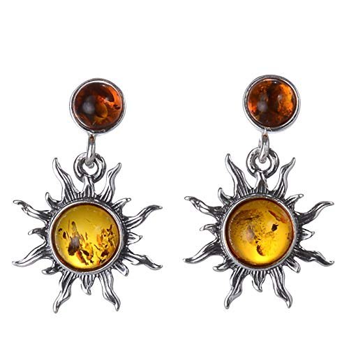 Sterling Silver and Baltic Honey Amber Earrings