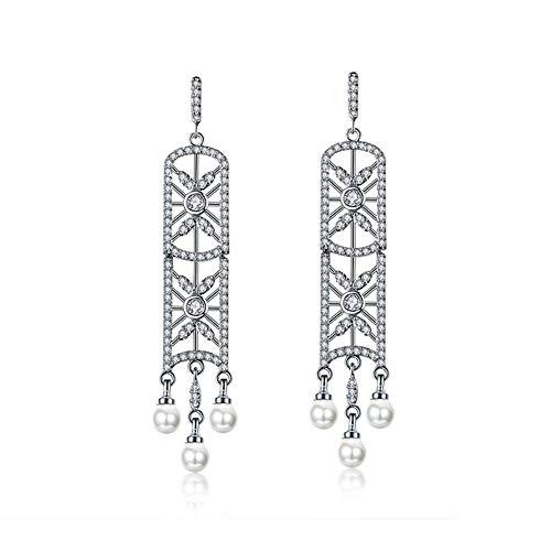 (MAFYU Xjh Copper Zircon Pearl Earrings 54×8Mm European American Personality Fashion Window Grilles Pierced Earrings)