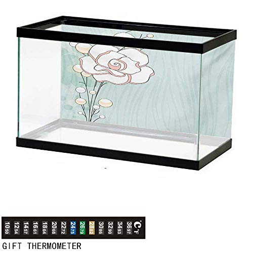 (wwwhsl Aquarium Background,Flower,Romantic Rose Sign of Eternal Love with Pearls The Purity Icon Print,Baby Blue White and Pink Fish Tank Backdrop 24