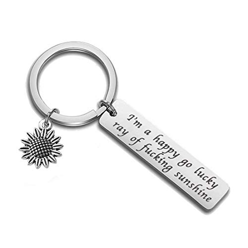 Zuo Bao Sunflower Sunshine Jewelry I'm A Happy Go Lucky Ray of Fucking Sunshine Keychain Optimistic Sarcastic Funny Quote Graduation Gift for Her (Sunflower Keychain)