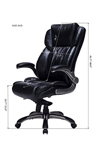 bonded leather executive chair high back with flip up arms import it all. Black Bedroom Furniture Sets. Home Design Ideas