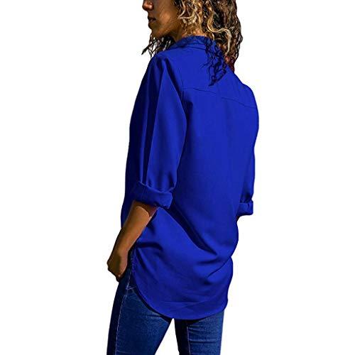 COPPEN Women Loose Blouse V-Neck Pure Color Button Long Sleeves Plus Size Tops Blue ()