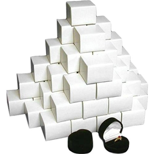 (48 Flocked Ring Heart Gift Display Boxes)