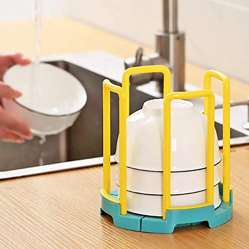 wSelio Retractable Storage Bowl Rack, Adjustable Dish Drying Rack Bowl Holders Removable Cutlery and Cup Holder (A-Yellow)