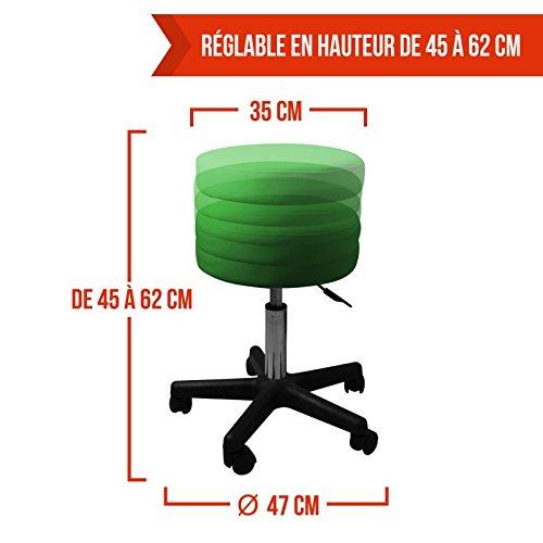 10 coloris Norme NF EN 1022 Vivezen /® Tabouret rond /à roulette r/églable en hauteur de 45 /à 62 cm et pivotable /à 360/°