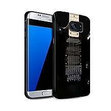 STUFF4 Matte Tough Shock Proof Phone Case for Samsung Galaxy S7 Edge/G935 / Black Electirc Design / Guitar Collection