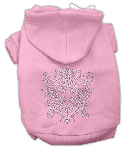 Mirage Pet Products 14-Inch Rhinestone Fleur De Lis Shield Hoodies, Large, Pink
