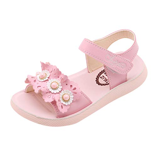 - Tantisy ♣↭♣ Girl's Flower Flat Sandals Cute Summer Open Toe Ankle Strap Dress Sandals for Kids (Toddler/Little Kid/Big Kid) Pink