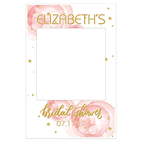 Bridal Party Frame (Roses and Gold Bridal Shower Selfie Frame Social Media Photo Booth Prop Party Poster)