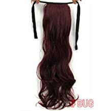 """GOMO 22"""" Wave ribbon ponytail clip in hair extensions #BUG Burgundy Red"""