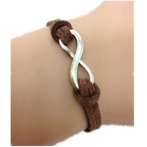 Healthtop Handmade Infinity Love Suede Brown Leather Rope Wrap Bracelets Friendship Bangle Unisex by Healthetop