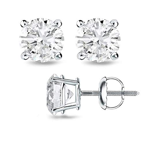 925 Sterling Silver Top Quality Screw Backing Round CZ Stud Earrings 0.50 C.T.W