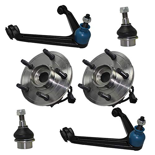 (Detroit Axle - 6PC Front Upper Control Arms, Ball Joint and Front Wheel Hub and Bearing Assemblies for 2002 2003 2004 2005 Dodge Ram 1500 5-LUG 4WD)