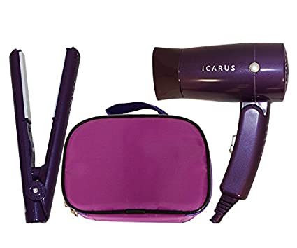 ICARUS Kit de plancha, secador de pelo y neceser