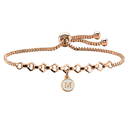 FUSTMW Rose Gold Initial Charm Bracelet Letters Alphabet Adjustable Bracelet for Women Girls (M)