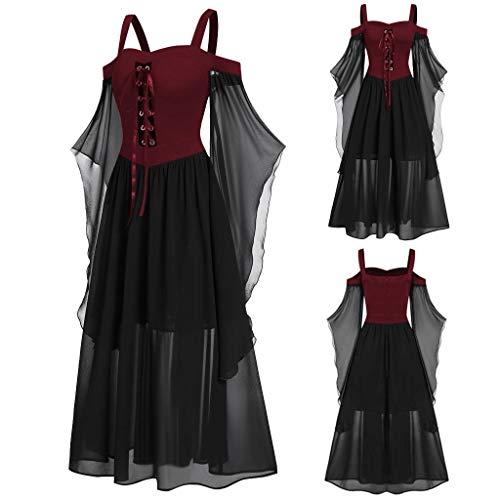 Women Cold Shoulder Lace Flare Sleeve Renaissance Corset Halloween Costume Dress Black (Star Size Costume Plus Trek)