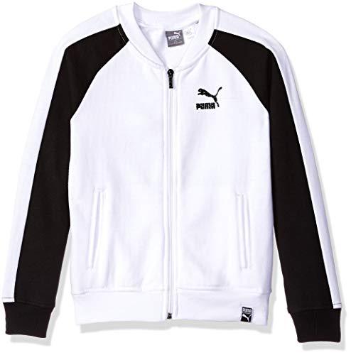 PUMA Big Girls' Fleece Track Jacket, White, L