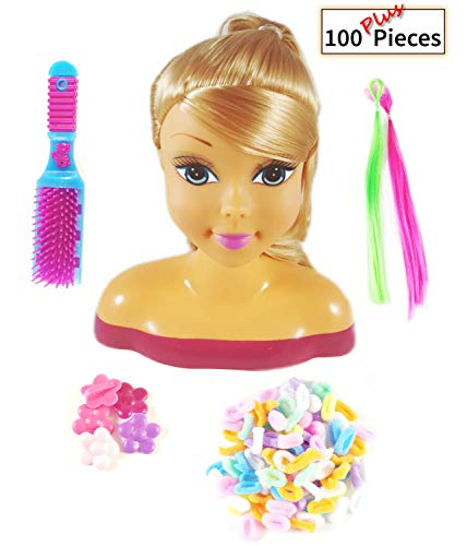 Pretty Girl Deluxe Hair Styling Doll Head playset / Toy Bundle with 100 Plus Accessories (Blond)