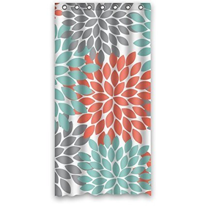 ZHANZZK Dahlia Floral Print Waterproof Fabric Polyester Shower Curtain 36x72 inches (Gray And Coral Curtain Shower)