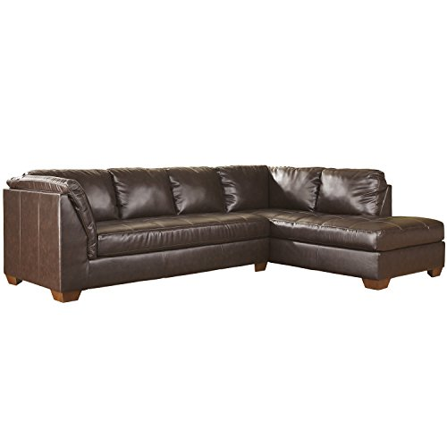 Flash Furniture Signature Design by Ashley Fairplay Sectional with Right Side Facing Chaise in Mahogany DuraBlend Leather (Living Room Mahogany Chaise)