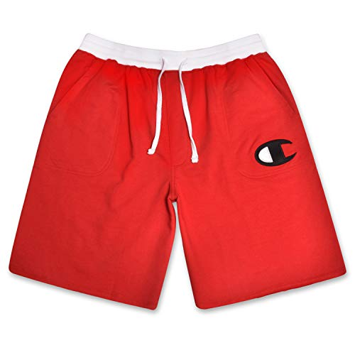 (Champion Mens Big and Tall Cotton Jersey Active Shorts with Embroidred Logo Red/White)