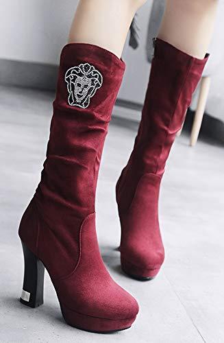 Stable Bottes Talon Femme Haute Motif Aisun Haut Rouge Bloc Avec Tige xE05SEwfq