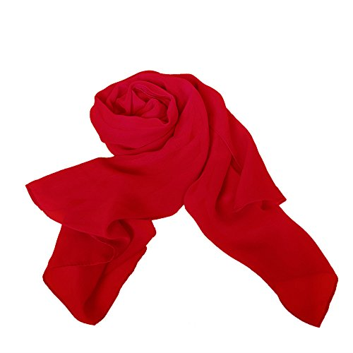 (MATCH MUCH Chiffon Scarf Solid Colors Wrap Shawl (Red))