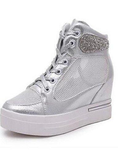 ZQ Zapatos de mujer-Tac¨®n Cu?a-Cu?as-Tacones-Oficina y Trabajo / Casual-Tul-Blanco / Plata , white-us6 / eu36 / uk4 / cn36 , white-us6 / eu36 / uk4 / cn36 silver-us5.5 / eu36 / uk3.5 / cn35