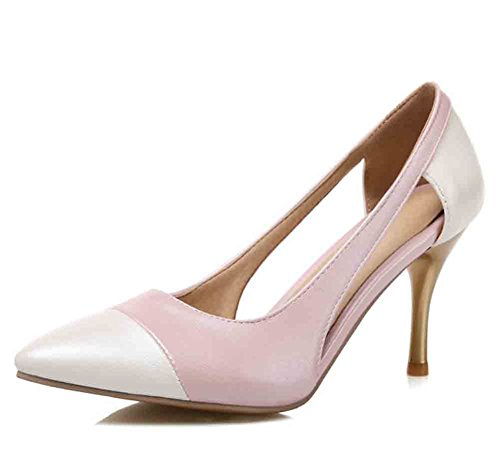 Aisun Women's Stitching Cut Out Pointed Toe Low Top High Stiletto Heel Sandals Pink ZevIF