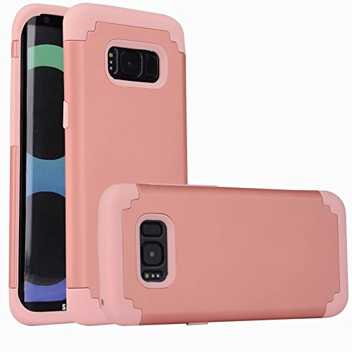 Grip 3' Flap (For samsung galaxy s8 Case, iBarbe Protective Dual Layer 2 in 1 Reinforced Flexible Soft rubber Silicone + Hard Plastic PC Shock-Proof Bumper Scratch-Resistant Shell corver (rosegold))